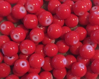 50 x Red baking paint glass beads 8mm