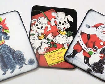 Poodle Christmas - Gift Tags - Set of 9 - Xmas Poodles - Vintage Poodles - Red Black Green - Christmas Dogs - Holiday Tags - Dog Lover Tags