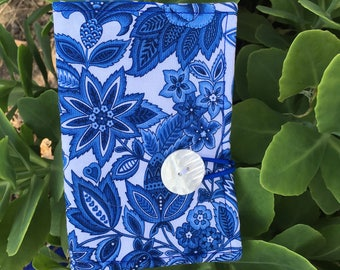 Tea Wallet Blue and White Modern Floral Print Fabric