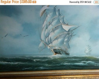 Ocean w Sailboat Oil Painting Ex-Lg-Vintage--GORGEOUS--Low Price  FREE Local Delivery
