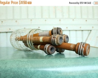 SALE Today Wood Spools - Antique Industrial Wooden Textile Bobbins, Spindles, Quills, Trims Organizer, Rustic Decor, Set of 6