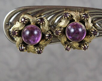 Vintage Amethyst Purple Glass and Rhinestone Round Gold Tone Clip On Earrings