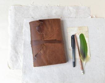 Rustic Brown Leather Journal with Rough Brown Sketch Paper