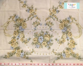 Vintage Yellow and Blue Placed Floral Pillowcase