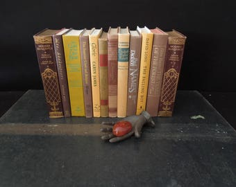 Mixed Colors  Foot of Books - Vintage Stack of Books for Decor - Burgundy Brown Yellow  Books by Color