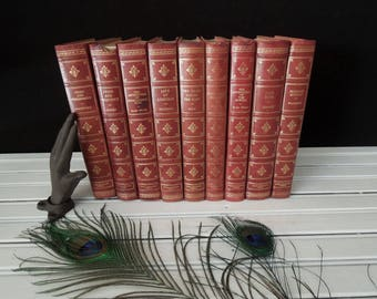 Vintage Classic Novel Set Fine Editions Club  - Burgundy Wine Book Stack - Books for Decor - Literature Gift - Books by Color