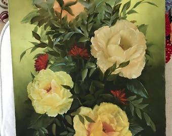 Gorgeous Roses Painting Longway Painting Vibrant Signed J Dean 15x30 Tall