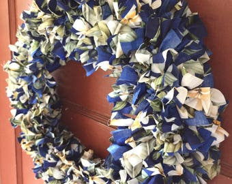 Fabric Scrap Wreath in Hawaiian Hibiscus in Blue and Cream