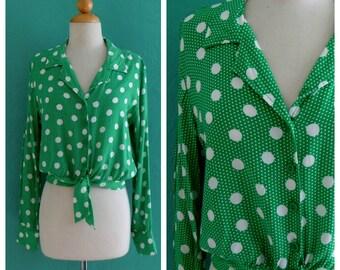 70's green polka dot cropped tie top ~ small medium