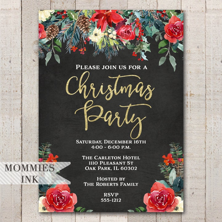 Holiday Party Invitation, Christmas Party Invitation, Winter Party ...