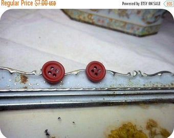 SALE The Homespun Button earrings. vintage notions. post studs. titanium posts. colors. rustic. wedding favor