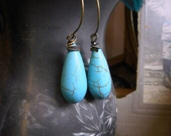 SALE Blue Bird. Turquoise bulby teardrop rustic earrings.