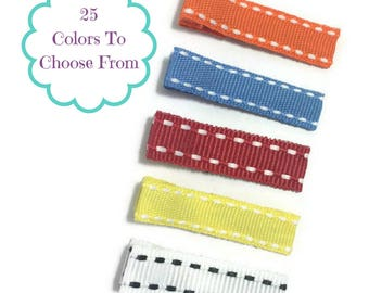 50 MINI STITCH Lined 35mm Single Prong Alligator Clips, No Slip Hair Clips, MINI Hair Clips, Lined Alligator Clips, Ribbon Covered Clips