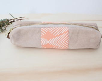 LEA Pencil case repurposed suede