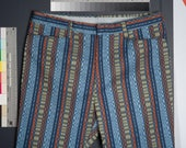 Vtg 1960's Striped Men's Hippy Pants 36w X 28L MoD BeAtNik HiPPiE Surfer HiPsTeR Shorts