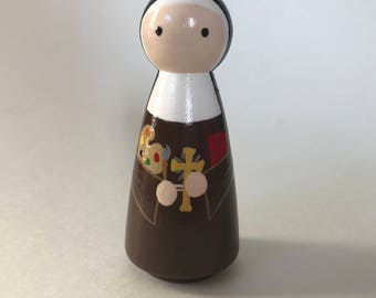 St. Catherine of Bologna - Wooden Peg Doll