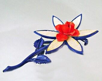 SALE Vintage Red White Blue Flower Brooch. Mod Flower Power Pin. Red White and Blue Rose Brooch.