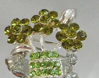 SALE Vintage Green Rhinestone Flower Brooch. Olivine Green Peridot Rhinestones. Flower Basket.