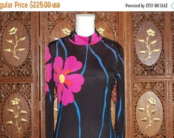 ON SALE Vintage 1970s POLLY Peck Floral Nylon Column Dress