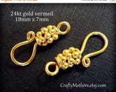 7% off SHOP SALE TWO Bali 24kt Gold Vermeil Granulated Hook Clasps, 18mm x 7mm, artisan-made jewelry supplies, bracelet