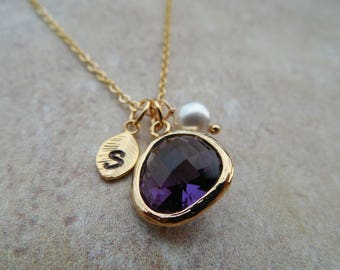 Sale - Gold/Silver February Amethyst Birthstone necklace, Availabe in all birthstones, Bridesmaid Necklace, Birthday Gift, Flower Girl Gift