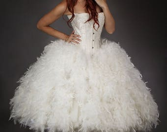 Custom size ivory Steampunk Burlesque corset feather and tulle wedding gown s-xl