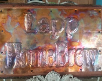 HomeBrew Sign Custom, Custom Sign, Sign Copper Custom phrase or name Anniversary sign, Wedding Signs, Birthday Sign, Father's Day Gift