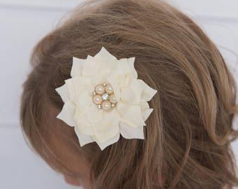 Ivory hair clip, gold hair clip, flower hair clip, cream hair clip, girl hair clip, girl hair bow, hair accessories, hair clips for girl