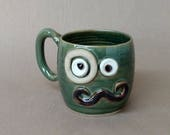 SALE. Man Mustache Mug with Monocle. Gentleman Handlebar Mustache Lover Gift. Husband Boyfriend Dad. Green Pottery Coffee Cup 16 Oz Large
