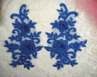 """3D Embroidered Bridal Appliques Blue Floral Venice Lace Mirror Pair 8"""" Sewing Supplies DIY (DH91X-bl)"""