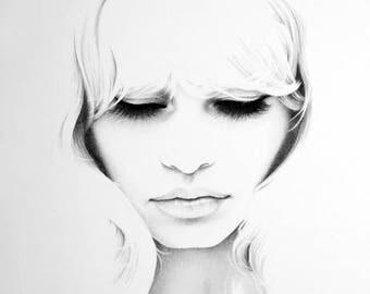 Brigitte Bardot Original Pencil Drawing Minimalism Fine Art Portrait