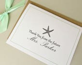 Reserved Listing Thank You From The Future Mrs Personalized Wedding Starfish Bridal Shower Cards and Envelopes Set of 25
