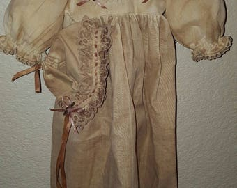 "Antique Baby Christening Gown or Doll Dress 19"" long Bonnet & Display Hanger"