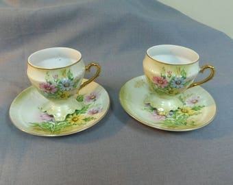 Teacups and Saucers (2), Flowers, Floral Motif (Painted Daisies) Japan Porcelain, Footed Cup