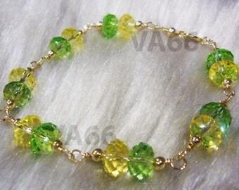 Many Colors 14K Gold Filled Wire Wrapped Swarovski Bracelet 5040 8mm Donut Crystal Rondelles, bridal, bridesmaids, flower girl, gift