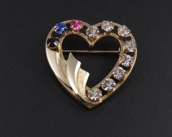 Catamore Gold Filled Heart Brooch, Rhinestone Brooch, Rhinestone Heart Brooch, Valentines Brooch, Heart Jewelry