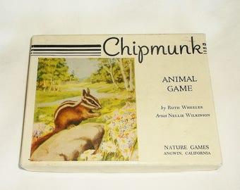 Vintage Chipmunks Animal Game by Ruth Wheeler • Artist Nellie Wilkinson • Nautre Games