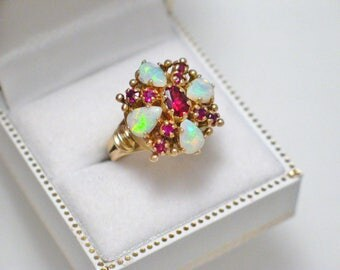14k Gold opal ruby gemstone ring band sz 7  cluster rubalite tourmaline accent harem princess dome vintage fine jewelry