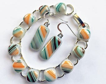 Fused Glass Bracelet and Earrings - Set - Peach, Blue, and Brown  - Fused Jewelry 108-14