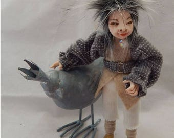 Bertie Elf with his Bird Friend OOAK Fairy Fairies Sculpture Posable Soft Body Polymer Clay Figurine