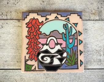 Southwestern design ceramic tile trivet cactus decor Santa Fe style