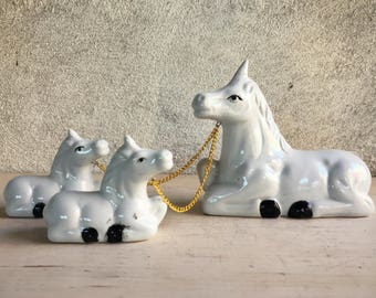 1950s Chained Unicorn Family, Vintage Porcelain Figurines