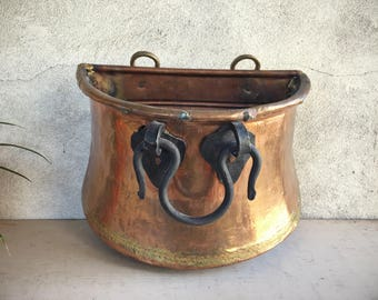 Vintage Copper Bin with Forged Iron Handle, Wall Mount Wood Container, Rustic Planter