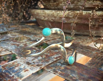 Boho Cuff Bracelet Silver Plated with Block Turquoise, Contemporary Modernist Jewelry