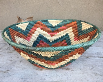 "Large 17"" Wide Woven Basket Bowl Rust Teal Bohemian Decor, Southwestern Decor Coiled Basket Wall Decor, Basket Holder Jungalow Tiki Style"