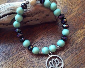 Beaded Lotus Charm Bracelet
