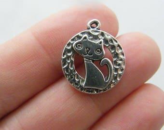 BULK 50 Cat charms antique silver tone CT57