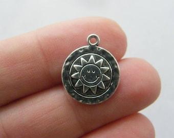 10 Sun charms antique silver tone S54