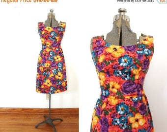 ON SALE 1960s Floral Wiggle Dress / 60s 1950s Colorful Floral Rhinestone Dress