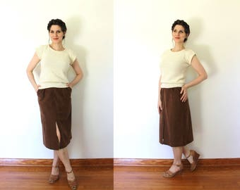 Vintage Vegan Suede Skirt / 1970s Vegan Faux Suede Skirt / 70s Skirt / 1970s Brown High Waisted Faux Suede Boho Skirt